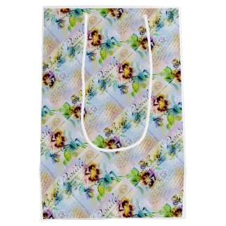 Vintage cottage style pansy flower medium gift bag