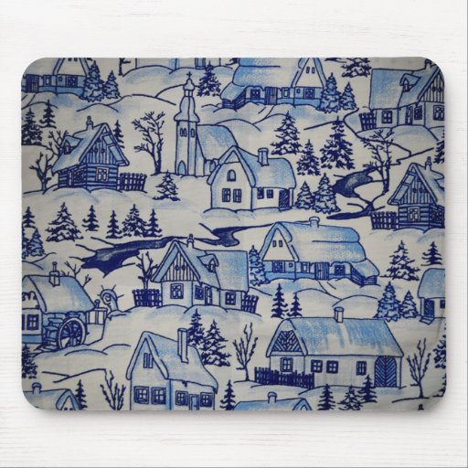 Vintage Cottage Winter Holiday Design Mousepad