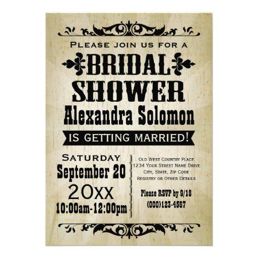 Bridal shower invitations free country bridal shower for Classic bridal shower invitations