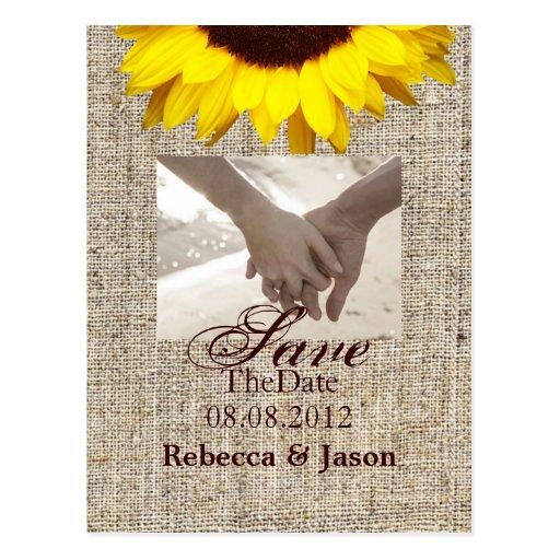 vintage country burlap  yellow sunflower wedding postcards