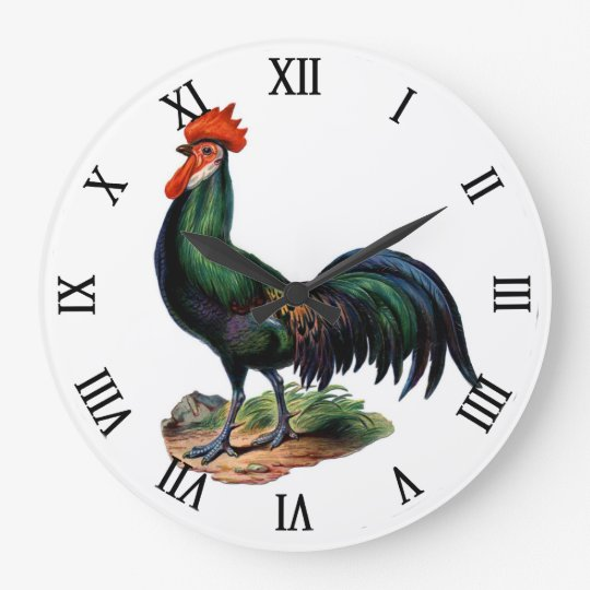 Vintage Country Chic Proud Colourful Rooster Large Clock