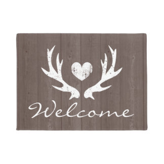 Vintage country chic rustic deer antler door mat