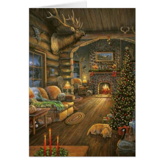 Vintage Country Christmas Cabin Card