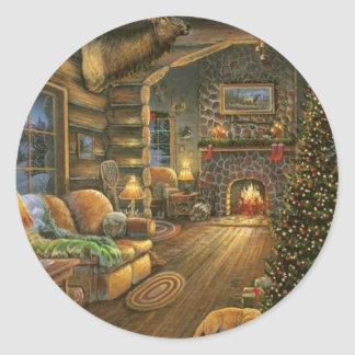 Vintage Country Christmas Cabin Round Sticker
