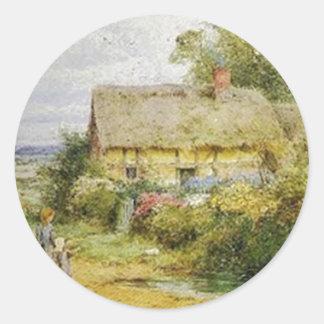 Vintage Country Cottage and Children Round Sticker