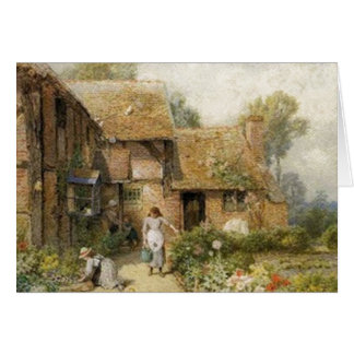 Vintage Country Cottage ~ Chores Greeting Card
