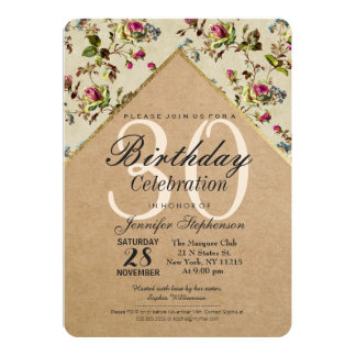 Vintage Country Floral & Gold Trim Recycled Paper 13 Cm X 18 Cm Invitation Card