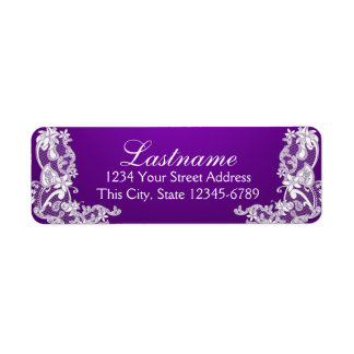 Vintage Country Floral Lace Purple Return Address Label