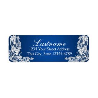 Vintage Country Floral Lace Sapphire Blue Return Address Label