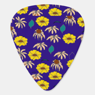 Vintage Country Floral mélange purple yellow Guitar Pick