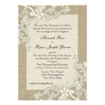 Vintage Country Lace Design and Burlap Personalized Announcement