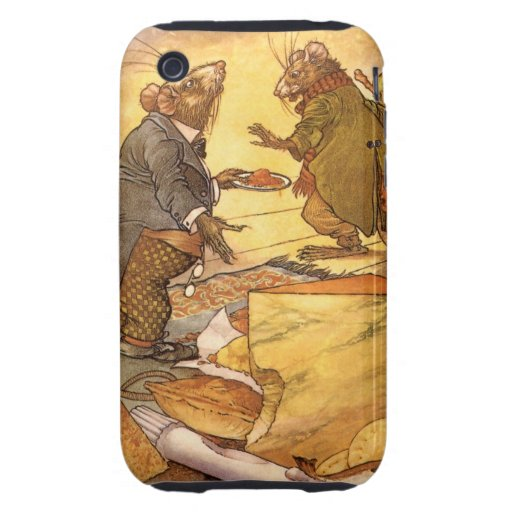 Vintage Country Mouse, City Mouse Aesop's Fable iPhone 3 Tough Cases