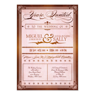 "Vintage Country Poster Style Wedding Invitation 5"" X 7"" Invitation Card"