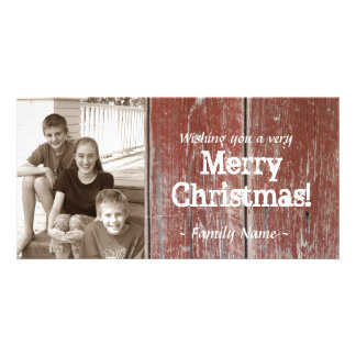Vintage Country Red Barn Wood Photo Christmas Card