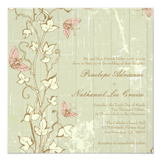 Vintage country rustic cream wedding invitation