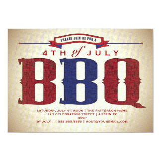 Vintage Country Rustic July 4th BBQ Invitation