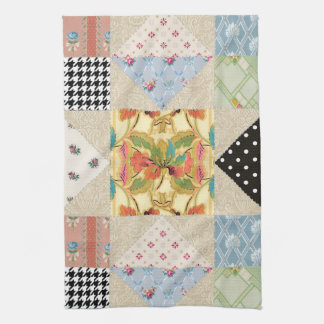 Vintage Country Style Evening Star Quilt Pattern Tea Towel