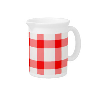 Vintage Country Style Gingham Pattern Pitcher