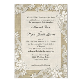 Vintage Country Style Lace Design and Burlap 13 Cm X 18 Cm Invitation Card