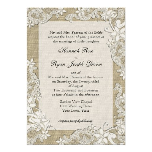 Vintage Country Style Lace Design and Burlap Custom Announcements