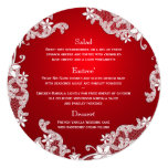 Vintage Country White Lace Red Round Menu 13 Cm X 13 Cm Square Invitation Card