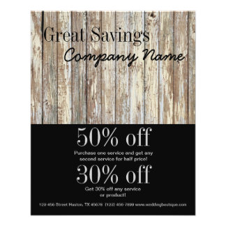 vintage country wood grain construction business 11.5 cm x 14 cm flyer