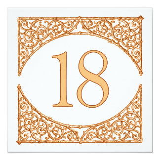 Vintage Country Wood Screen Table Number 18 13 Cm X 13 Cm Square Invitation Card