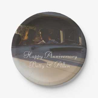 Vintage Couple in Car Anniversary Cake Paper Plate 7 Inch Paper Plate