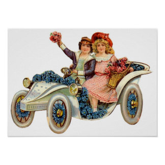 Vintage Couple in Flower Cart Poster