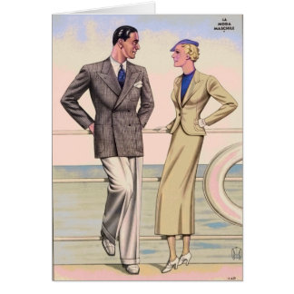 Vintage Couple on Cruise Card