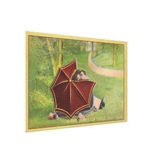 Vintage Couple under umbrella Canvas Prints