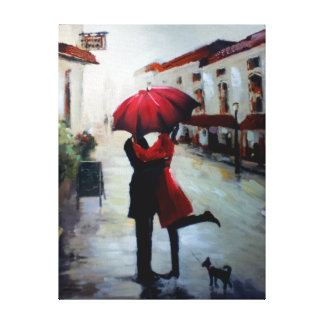 Vintage Couple with Umbrella and Dog Canvas Gallery Wrapped Canvas