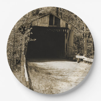 Vintage Covered Bridge 9 Inch Paper Plate