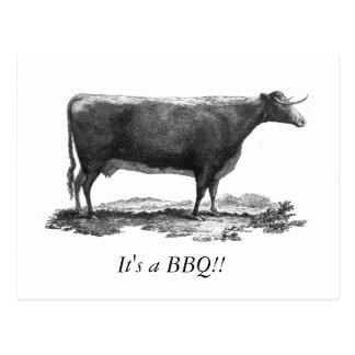 Vintage cow BBQ invitation card Postcard