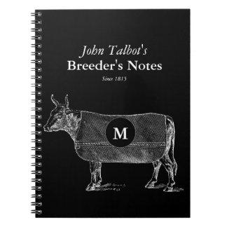 Vintage Cow Blanket Monogram Breeders B Notebook
