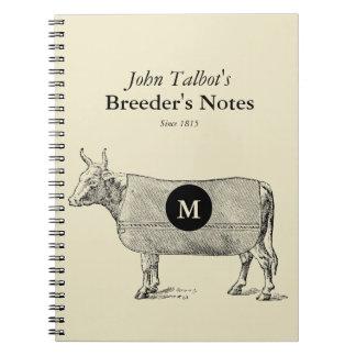 Vintage Cow Blanket Monogram Breeders Notebook