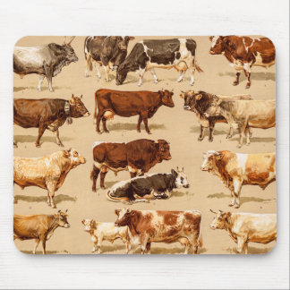 Vintage Cow Calf Bull Dairy Cows Farm Illustration Mouse Mat