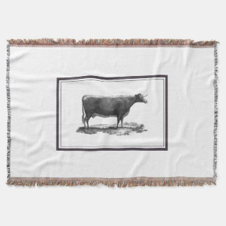 Vintage cow etching blanket