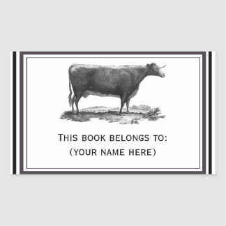 Vintage cow etching bookplate rectangular sticker