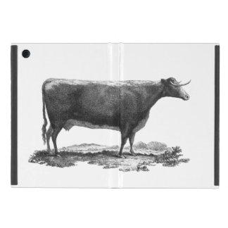 Vintage cow etching mini tablet case