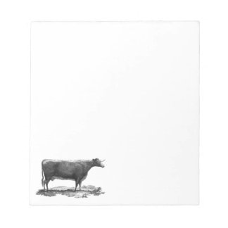 Vintage cow etching notepad