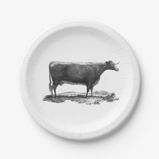 Vintage cow etching paper plate