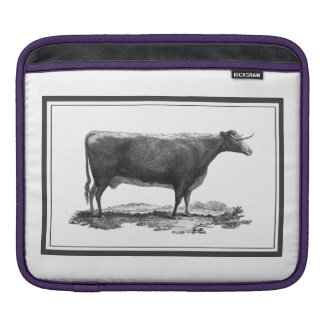 Vintage cow etching sleeve with borders sleeve for iPads