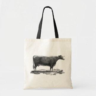 Vintage cow etching tote bag