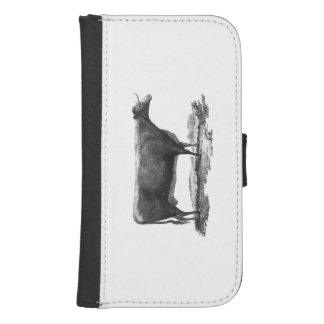 Vintage cow etching wallet case
