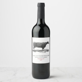 Vintage cow etching wine label