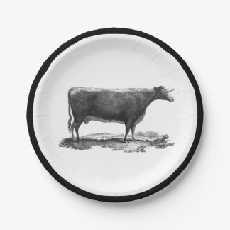 Vintage cow etching with border paper plate 7 inch paper plate