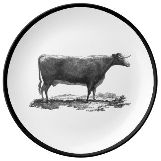 Vintage cow etching with border plate
