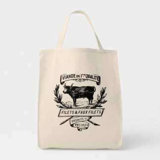 Vintage Cow French Butcher Ad Grocery Tote Bag