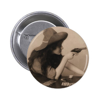 Vintage Cow Girl 6 Cm Round Badge